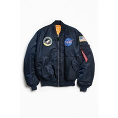 Alpha Industries NASA MA-1 Bomber Jacket ($199) ❤ liked on Polyvore featuring men's fashion, men's clothing, men's outerwear, men's jackets, mens military style jacket, mens military jacket, mens utility jacket, mens military field jacket and mens zip up jackets