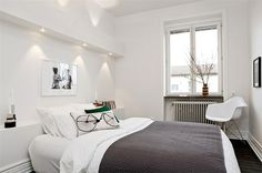 Small bedroom in white and grey via Planete Deco