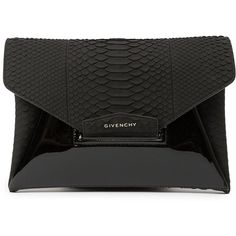 Givenchy 'Antigona' clutch found on Polyvore featuring bags, handbags, clutches, black, snake skin purse, givenchy handbags, black purse, givenchy purse and snake print purse