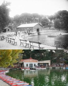 Embarcadero del Lago de la Casa de Campo 1932 vs 2019. Madrid, España. Madrid, Mansions, House Styles, Home Decor, Photo Caption, Cottage, Houses, Pictures, Decoration Home