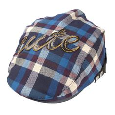 Voberry® Baby Boy Kids Toddler Plaid Beret Cabbie Flat Peaked Hat river Cap  (B)  Package Included  br Beret Cap (without retail package) 832c518da17b