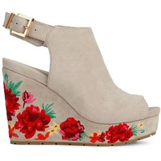 Kenneth Cole New York Women's Olani Floral Printed Suede Wedge Sandals ($170) ❤ liked on Polyvore featuring shoes, sandals, marine, floral wedge shoes, floral shoes, ankle tie sandals, suede wedge shoes and suede shoes