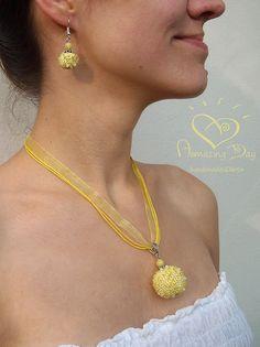 Yellow LARGE Pendant & Earrings Crochet Light Yellow by AmazingDay