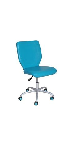Armless Desk Chair, Great for College Dorms and Offices (Teal)