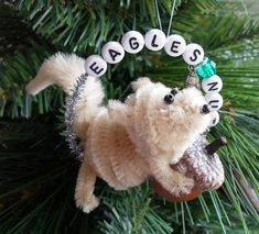 Happier Than A Pig In Mud: Christmas In July-(Philadelphia Eagles) Sports Nut Squirrel Pipe Cleaner Ornament