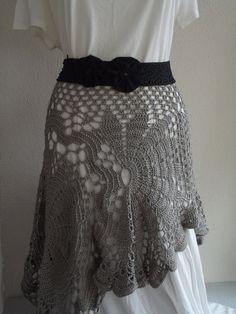 crochet skirt doily beige skirt handmade skirt fall by nilsmake, $75.00