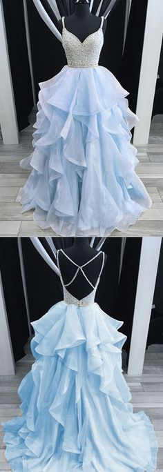 This is soo pretty Sparkly Pretty Most Popular Prom Dresses, 2018 prom dress, Party Gowns, Evening dress Baby Blue Prom Dresses, Cute Prom Dresses, Prom Dresses 2018, Dance Dresses, Pretty Dresses, Evening Dresses, Formal Dresses, Amazing Prom Dresses, Formal Prom