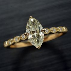 Diamond Engagement ring solitaire Marquise by OscargamaJewelry