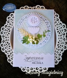 od A do Zet: Proste zaproszenia komunijne First Communion Cards, Holy Communion Invitations, Première Communion, First Holy Communion, Baptism Favors, Baptism Gifts, Handmade Crafts, Diy And Crafts, Paper Crafts