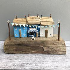Wood Houses Sculpture Driftwood wooden houses Coastal Art