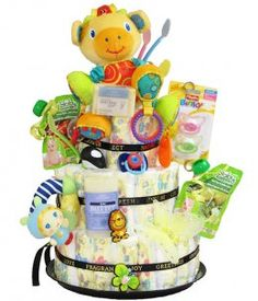 The Newborn Diaper Cake from Grower Direct is the perfect gift for a baby shower. Contains diapers, toys, socks, baby food and more!
