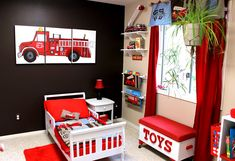 fire truck room.............I know a little boy who needs this at grandpa's and Gmaw's
