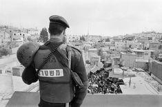 Palestine. Old Jerusalem. Israeli solder on Ramadan guard duty