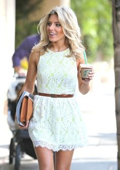 lace with a neon underlay. | Love white dresses with brown leather belts