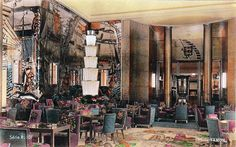 One of several colorized photos of Normandie's interior--giving a rough idea of her magnificence--here her first class grand salon