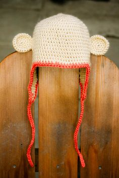 a reason to make an effort to be more crafty - crochet monkey hat. you could move those ears around and turn it into all kinds of animals.