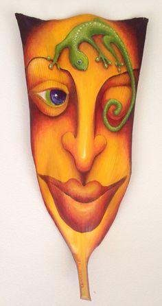 """Green Friend"" acrylic on palm frond by Anna Skaradzinska Palm Frond Art, Palm Fronds, Tole Decorative Paintings, Art Stand, Funky Art, Painted Leaves, Fish Art, Yard Art, Amazing Gardens"