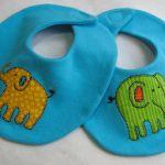 Free Sewing Pattern:  Elephant Walk Bib and Burp Cloth