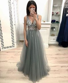 Silver Grey Color Prom Dress Long, Dresses For Graduation Party, Evening Dress, Formal Dress, DT0466