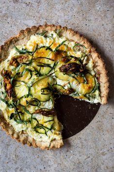 Zucchini and squash blossom tart