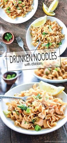Drunken Noodles with Chicken is a quick and delicious weeknight recipe that the whole family will go crazy over!   www.cookingandbeer.com
