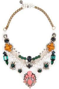 Shourouk Lyubov silver-plated, Swarovski crystal and PVC necklace