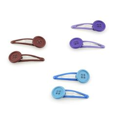 Bright Button Hair-clips - Assorted Colours