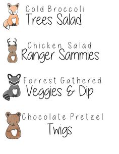 FREE PRINTABLE - woodland baby shower food table tags