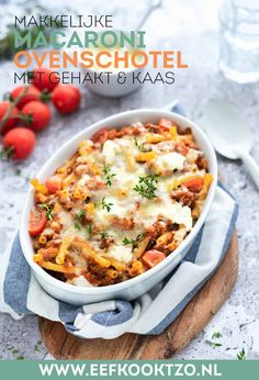Macaroni casserole with minced meat and cheese - Easy pasta casserole: macaroni casserole with minced meat, cheese and ricotta. Tasty, easy and quic - Macaroni Casserole, Macaroni Pasta, Pot Pasta, Casserole Recipes, Macaroni And Cheese, Shrimp Pasta, Chicken Pasta, Healthy Diners, Canned Blueberries