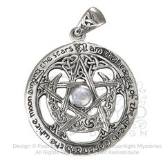 Sterling Silver Extra Large Cut Out Moon Pentacle Pentagram Pendant with Rainbow Moonstone