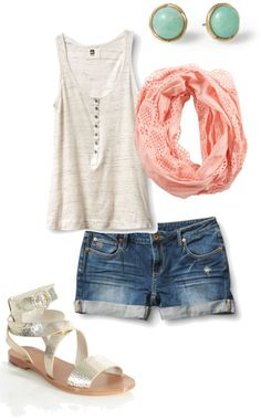 Tank with scarf and denim shorts.