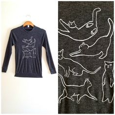 Grey gray white cat long sleeve white cat by TheFelineBoutique