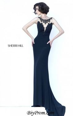 Black Jersey 2016 Sherri Hill 32076 Long Prom Dress