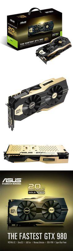"""#Asus GTX 980 20th #Anniversary #Gold Edition  Para celebrar sus 20 años el rubro de tarjetas graficas, Asus ha lanzado una Geforce GTX 980 edición especial y limitada """"GTX 980 Anniversary Gold Edition"""", la cual según ellos es la GTX 980 más veloz del mundo, presumiendo de que el núcleo GM204 funciona a 1317Mhz (llegando a los 1431Mhz en modo """"Boost"""")"""