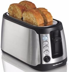 Kitchen Toaster Stainless Steel Keep Warm 4-Slice Long Slot Artisan Bread Bagel  #Toaster #StainlessSteelToaster #StainlessToaster #KitchenToaster #LongSlotToaster #ToasterBreadBagel #Kitchen #Steel #Stainless #BreadBagel #Slot
