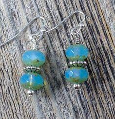 Aqua Blue Czech Bead and Silver Earrings