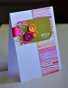 woodgrain strip by stamping Background Basics: Woodgrain in Raspberry Fizz, Terracotta Tile & Orange Zest.