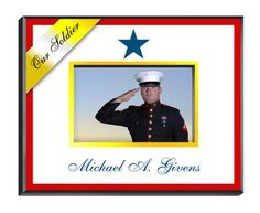 Decorated with a yellow ribbon and the colors of the American flag, our personalized Blue Star picture frames honor the dedicated men and women who unselfishly serve in America's armed forces.