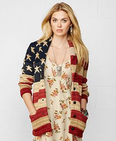 Denim & Supply Ralph Lauren Oversize American-Flag Cardigan