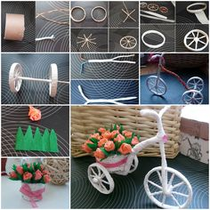 Diy little bike carrying beautiful flowers decoration Flower Cart, Diy Flower, Diy Crafts To Do, Simple Acrylic Paintings, Newspaper Crafts, Miniature Fairy Gardens, Deco Table, Flower Decorations, Craft Gifts