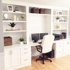 A stunning transformation of space in this Built In Desk Reveal! You will not be… – Home Office Design Diy Office Built Ins, Built In Desk, Built In Cabinets, Office Wall Cabinets, Built In Cupboards Bedroom, Wall Cabinets Living Room, Basement Built Ins, Ikea Built In, Bedroom Built Ins