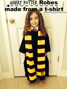 Seriously the easiest way to make harry potter robes! Only $3 too! halloween, costume, diy, sewing, mymommystyle.com