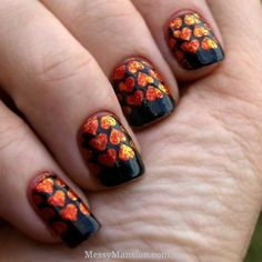 Pinned by www.SimpleNailArtTips.com STAMPING NAIL ART DESIGN IDEAS -   Hearts on fire