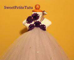 Silver Tutu or Fall Dress with Dark Plum Purple by SweetPetiteTutu