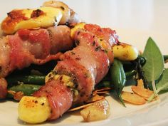 Bacon Halloumi Rolls with Sage Green Beans