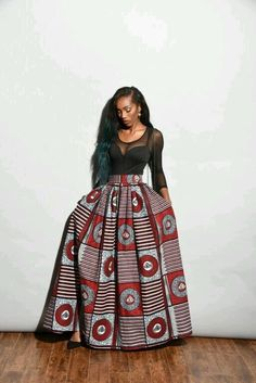 Royal African print Maxi Skirt Long Skirt by RoyalcoutureCanada