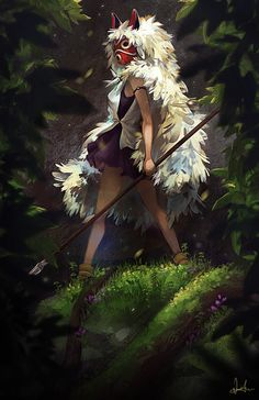 So fierce and beautiful! (Artist einiv. http://einiv.deviantart.com/art/Princess-Mononoke-517242974) Howls Moving Castle, Princess Mononoke Wallpaper, Princess Mononoke Cosplay, Filmes Studio Ghibli, Studio Ghibli Art, Studio Ghibli Movies, Hayao Miyazaki, Tales From Earthsea, When Marnie Was There