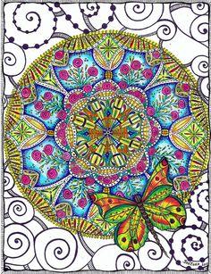 Rose and Butterfly Mandala #1 by carolynboettner, via Flickr