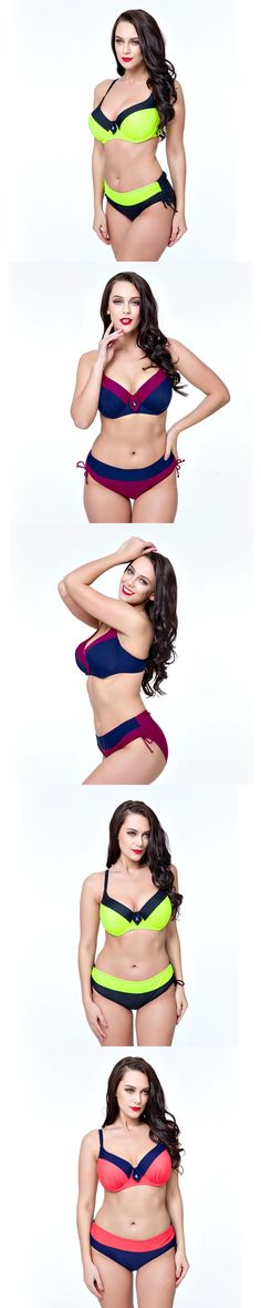 2017New plus size swimwear large size Retro Swimsuit bikini swimwear women female swimwear beach wear bathing suit bikini set