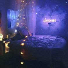 67 Ideas How To Create a Dream Bedroom Decor on a Budget - Life Hack Cute Bedroom Ideas, Cute Room Decor, Room Ideas Bedroom, Awesome Bedrooms, Cool Rooms, Galaxy Bedroom Ideas, Bedroom Inspiration, Bedroom Ideas Purple, Childs Bedroom
